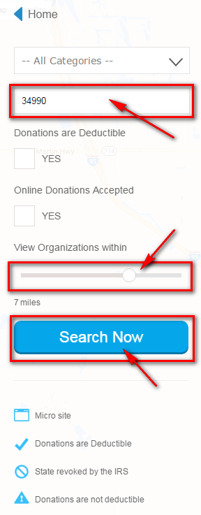 Charity Map Search Options